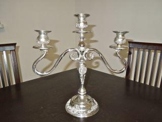Vintage Silver Plated Godinger 3 Arm Candelabra photo