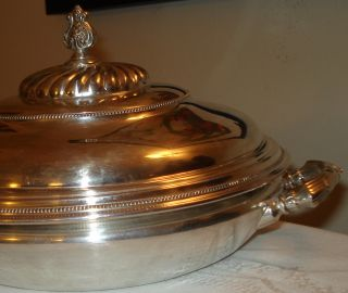 Vtg Superior Silverplate Quadruple Large 3pc Covered Bowl Dish Tray 802 photo