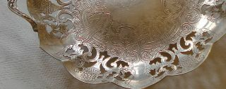 Fine Primrose Silverplate Antique Chased Pierced Art Footed Dish Tray Platter photo
