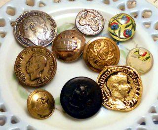 Vintage Rhinestone Buttons Metal Rhinestone Art Nouveau Deco Retro Antique photo