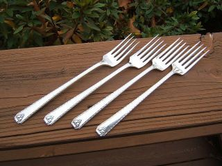4 Silverplate Prestige Oneida Bordeaux Grille Forks 1945 Good Ltb photo