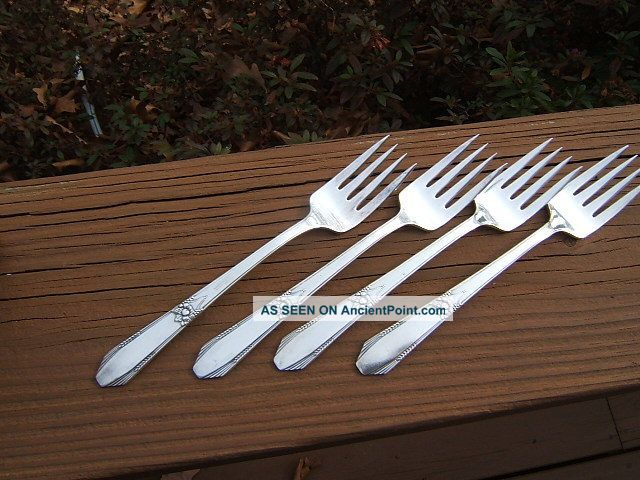 4 International R&b Manor Plate Festival Salad Forks 1938 Lota International/1847 Rogers photo