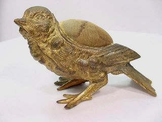 Antique Vintage Metal Baby Chick / Bird Pin Cushion Signed Usa Intact photo