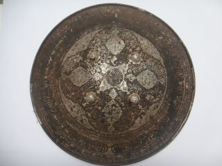 A 19th C Indo Persian Mughal Shield With Pure Silver Lamination Work. photo