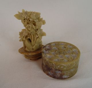 2 Soapstone : 1 Rose Statute (purchased In Asia Late 70 ' S) & 1 Intricate Box Ec photo