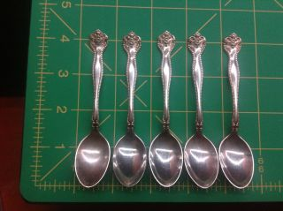 5 Raleigh Sterling Silver Demitasse Spoons By Alvin 4 - 1/4 Inch Spoon photo
