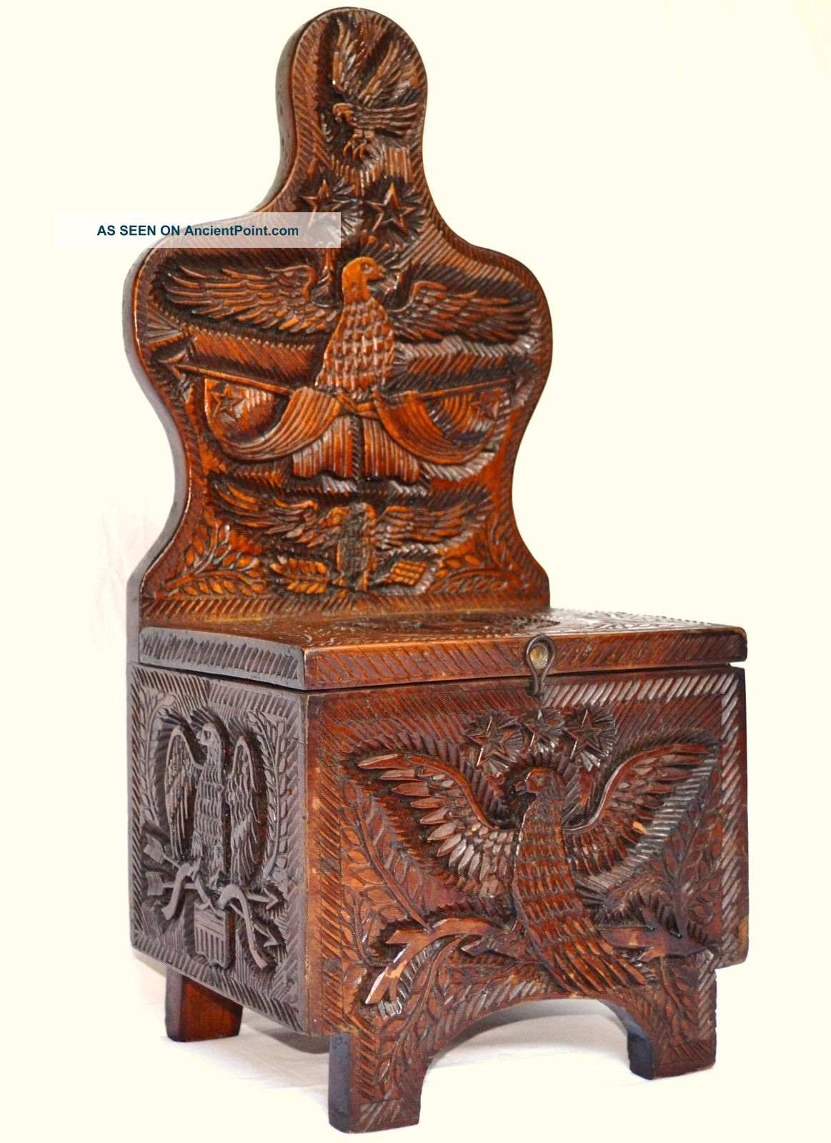 19th Century Antique Folk Art Carved Box American Eagles Folk Art photo