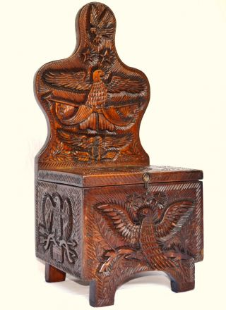 19th Century Antique Folk Art Carved Box American Eagles photo