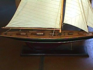 Vintage J Boat Yacht America ' S Cup Wooden Model Sailboat 6 Feet Tall Decorative photo