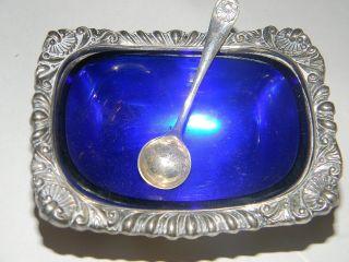 Antique E.  G.  Webster & Son Silver Plate & Cobalt Glass Condiment Dish W /spoon photo