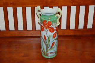 Antique Japanese Hand Painted Ie&c Co Hand Painted Gold Gilt Porcelain Vase 15