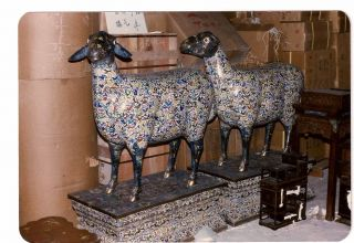 19th Century Pair Of Palace Size Cloisonne Sheep 57