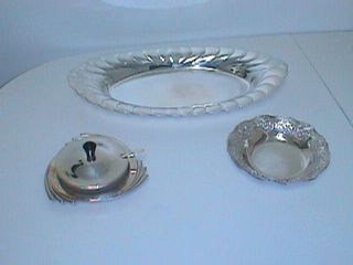 3 Piece Of Silver Plate Dishes Epns & International Silver Co.  Mustard Pot photo