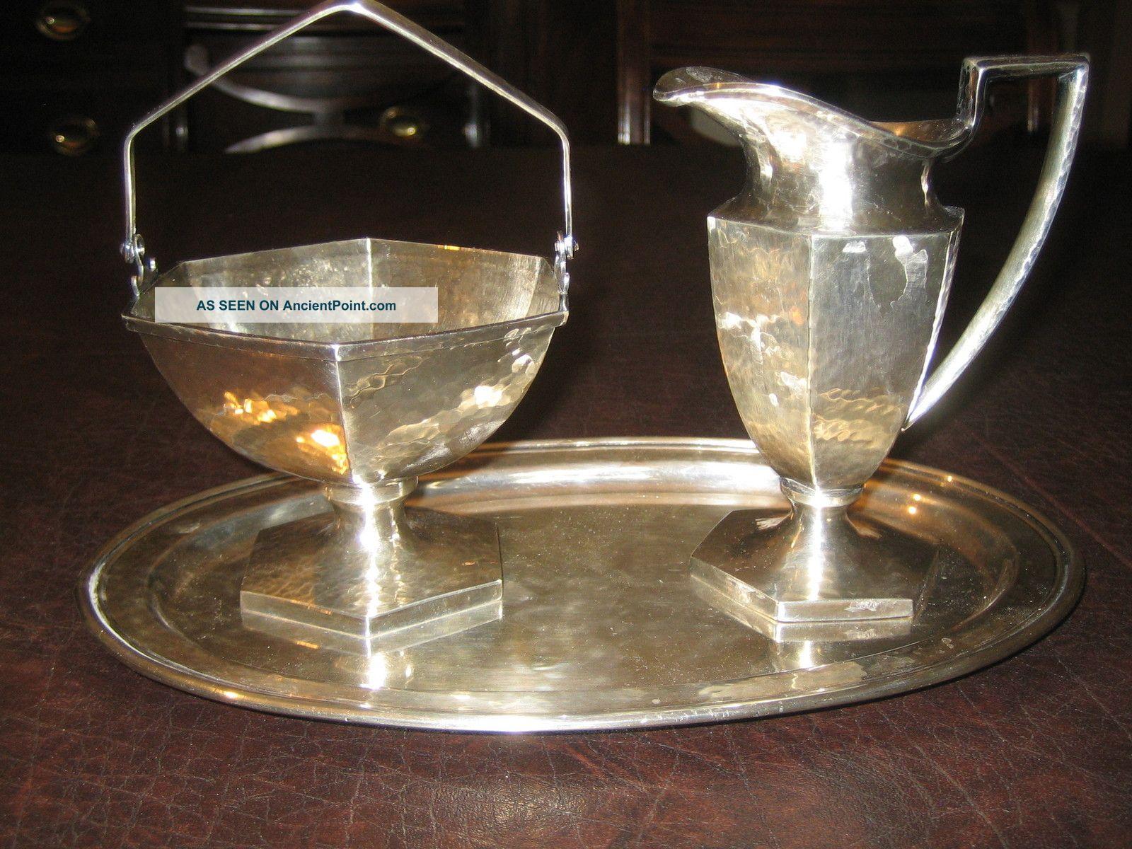 Vintage Silver - Plated Sugar Bowl & Creamer - Derby S.  P.  Co. Creamers & Sugar Bowls photo