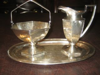 Vintage Silver - Plated Sugar Bowl & Creamer - Derby S.  P.  Co. photo