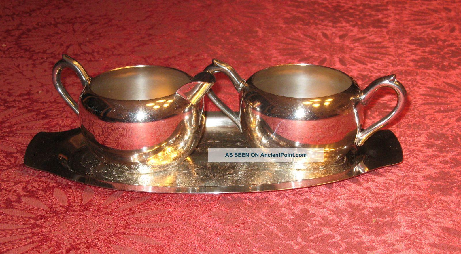 F.  B.  Rodgers Silver Co 3 Pc Tea Set,  Creamer - Sugar - Tray 1087 Silverplate - Exc Creamers & Sugar Bowls photo