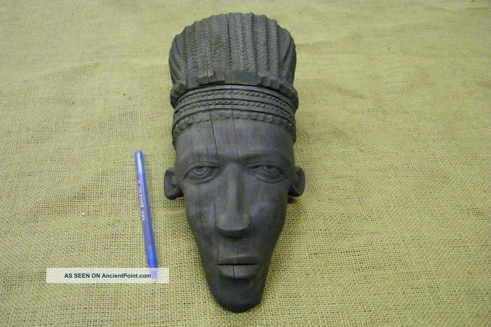 Ebony Wood Carving African Face Tribal Primitive Sculpture