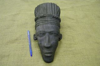 Ebony Wood Carving African Face Tribal Primitive Sculpture Statue Wall Art Mask photo