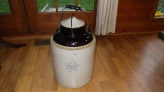 Early 20th Western Stoneware 5 Gallon Pickle Canning Crock Seal Monmouth,  Il photo