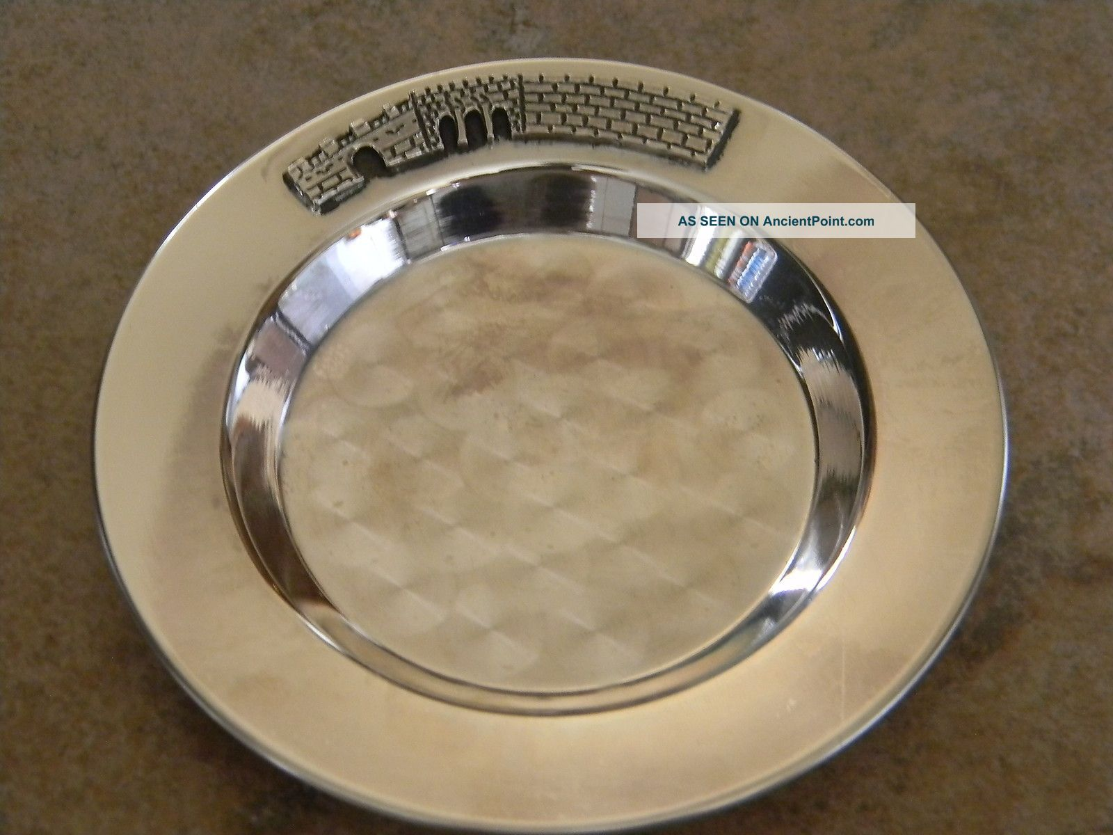 Vtg Modern Israel 925 Sterling Silver Round Tray,  Etched Judaica Scene Other photo
