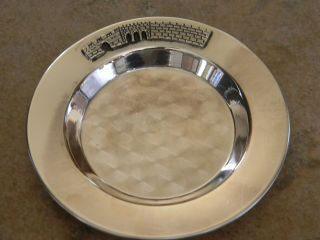 Vtg Modern Israel 925 Sterling Silver Round Tray,  Etched Judaica Scene photo