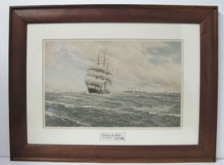 Huge Antique Tall Ship Portrait Print Of 1881 Estrella De Chile Stunning Yqz photo