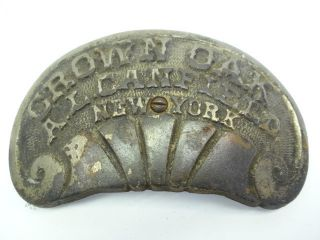 Antique Old Metal Cast Iron Crown Oak Al Canfield Ny Woodstove Makers Badge Part photo