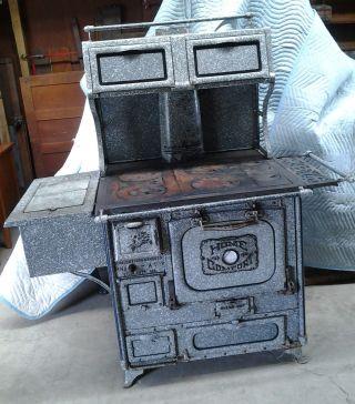 Home Comfort Cook Stove Speckled Gray Granite Circa 1890 Deluxe Antique photo