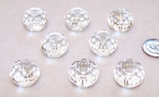 """8 Vintage Sparkling Crystal Clear Faceted Glass Round Ball Shape Buttons ¾"""" X ⅝"""" photo"""