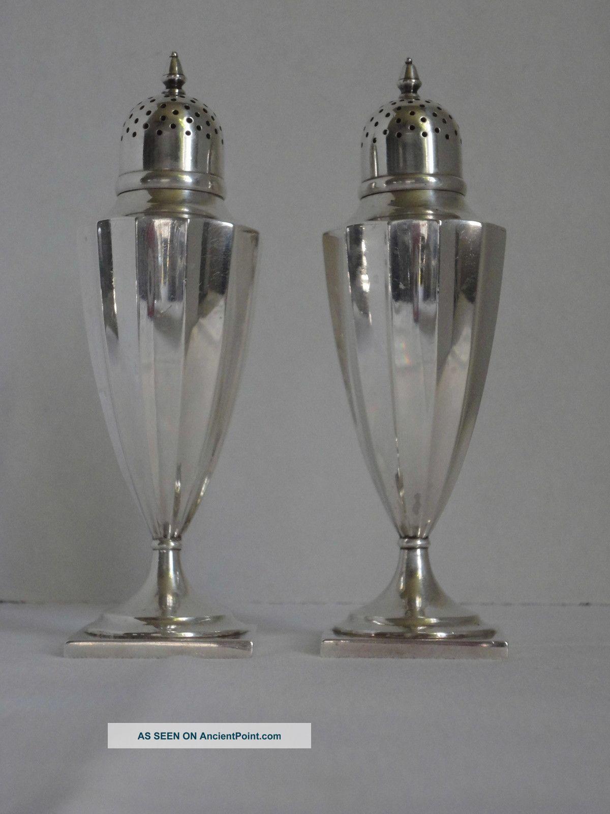Tiffany Co Sterling Silver Salt Pepper Shakers Art Deco 925 1000 4 5 Tall