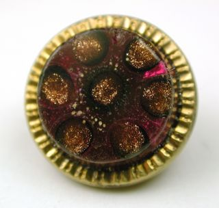 Antique Glass In Metal Button Amethyst W/ Gold Sparkle Design photo