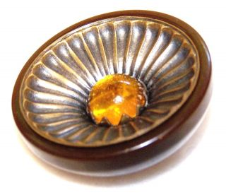 "Vntg Big Chocolate Brown Bakeiite Catalin Button Brass & Amber Cabochon 1&11/16"" photo"