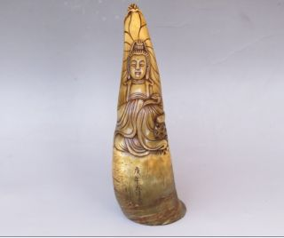 Old Carved Tibet Tibetan Yak Horn Kwan Yin Ox Statue Buddha Cup Chinese Antique photo