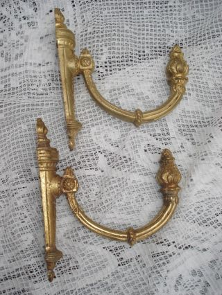 A Pair Of French Antique Brass Curtain Tie Backs Brackets/ Coat Hooks photo
