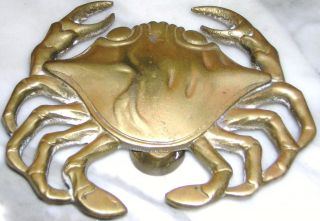 Heavy Brass Crab Door Knocker In Need Of New Beach House Or Nautical Collector photo