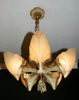 Antique Art Deco Bat Wing Slip Shade Light Fixture Ceiling Chandelier photo