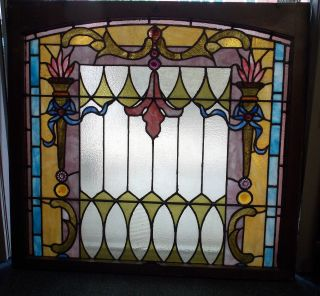 Antique Stained Glass Window,  40 By 37 Inches Including Frame photo