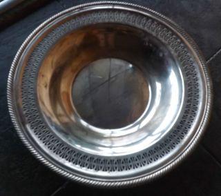 Wm Rogers 835 Vintage Serving Tray/bowl Eagle/star Markings,  Pierced Edge photo
