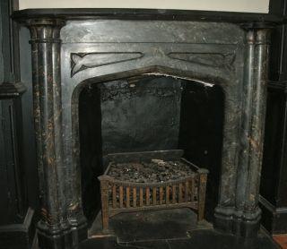 Antique Greek Revival Black & Gold Marble Mantel - Circa 1850 photo