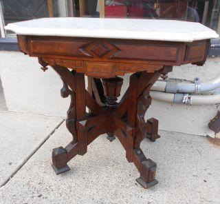 Victorian Eastlake Renaissance Revival Marble Top Table W/ Carved Walnut Base photo