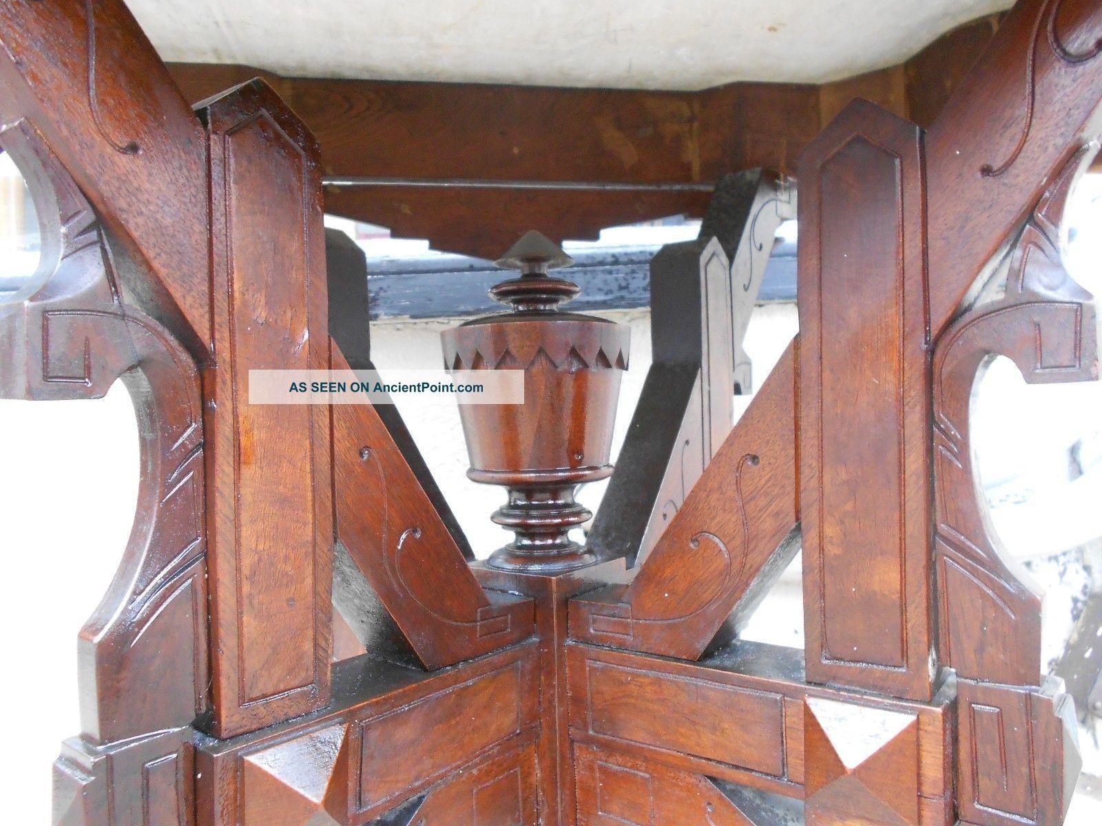 With 106422 victorian eastlake renaissance revival marble top table - Victorian Eastlake Renaissance Revival Marble Top Table W Carved Walnut Base