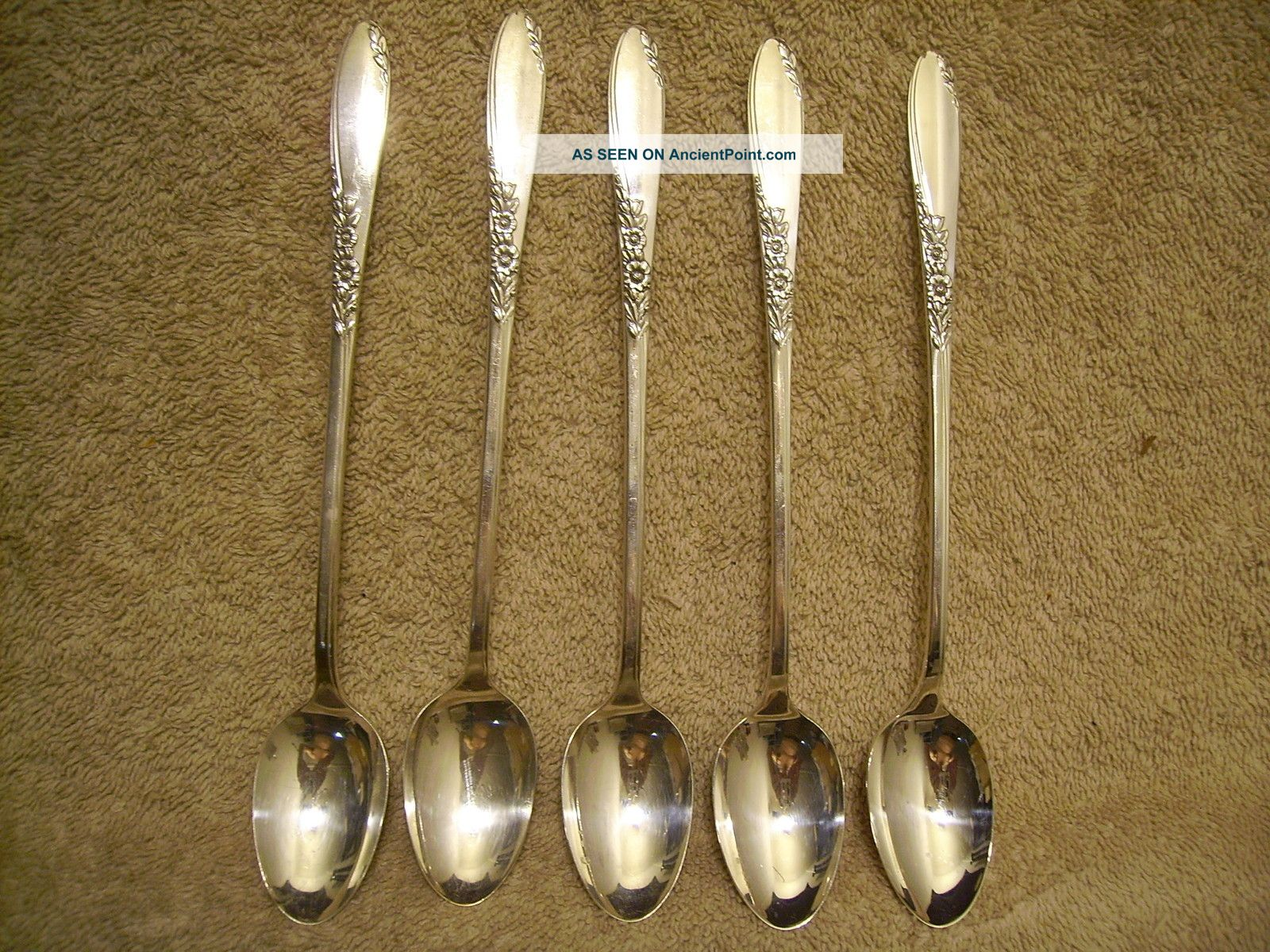 5 Rogers 1954 Country Lane Iced Tea Spoons Oneida Ltd Silverplate Oneida/Wm. A. Rogers photo
