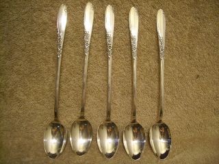 5 Rogers 1954 Country Lane Iced Tea Spoons Oneida Ltd Silverplate photo