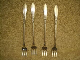 4 Rogers 1954 Country Lane Seafood Cocktail Forks Oneida Ltd Silverplate photo