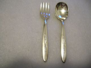 Community Song Of Autumn Pattern Baby Or Toddler Spoon And Fork Set 1960 photo