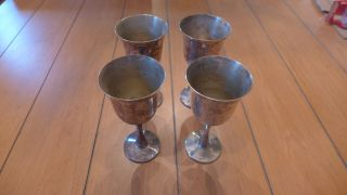 Vintage Salem Silverplate Cups Water Wine Set Of Four (4) Goblets 5.  5 In.  Ht. photo