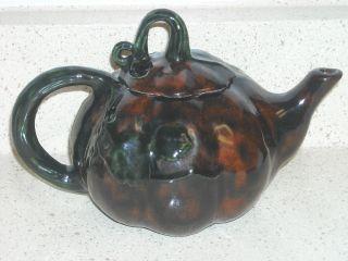19th Century Antique Majolica Teapot Pumpkin Orange And Green Glaze photo