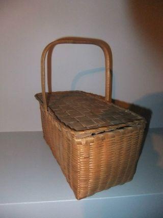 19 C Mi ' Kmaq Or Maliseet Childs Lidded Basket