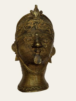 Vintage Old Brass Tribal Face Pen Holder With Craving Gh - 437 photo