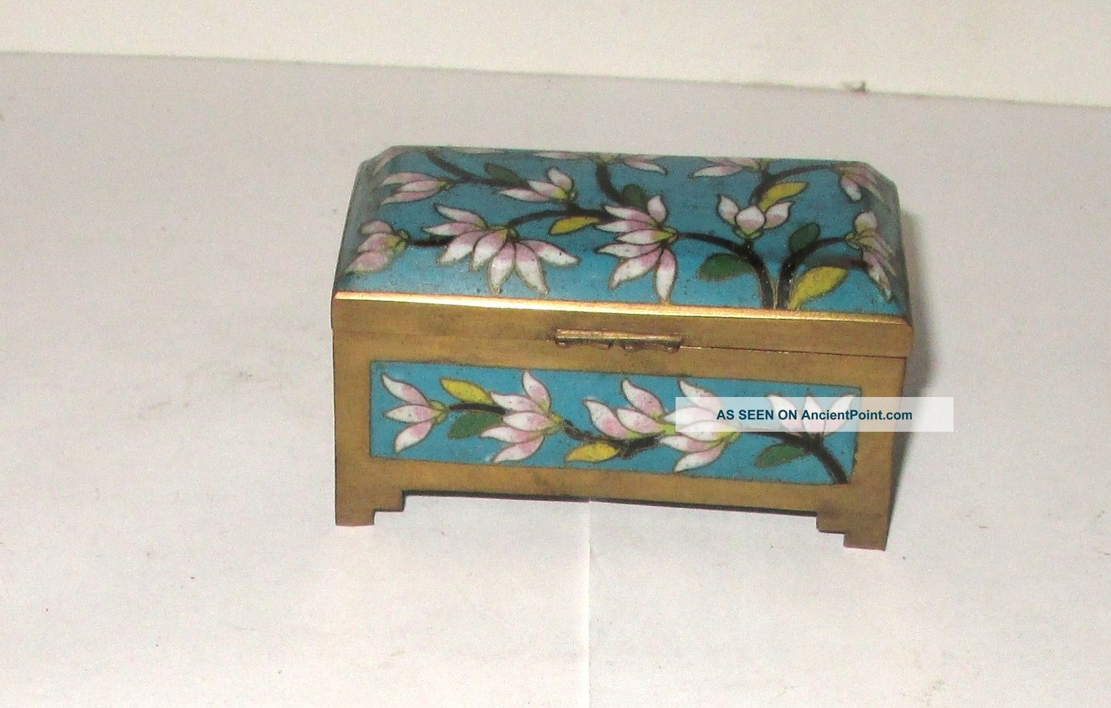 Chinese Cloisonne Blue Enamel Floral Stamp Jar Box Boxes photo